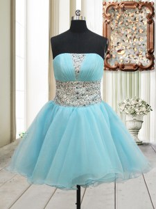 Mini Length Aqua Blue Evening Dress Organza Sleeveless Beading