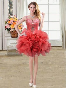 Super Coral Red Ball Gowns Straps Sleeveless Organza Mini Length Lace Up Beading and Ruffles