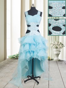 High Quality Organza Straps Sleeveless Criss Cross Beading and Ruffled Layers Prom Dresses in Aqua Blue