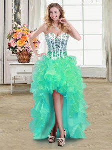 High Quality Turquoise Organza Lace Up Sweetheart Sleeveless High Low Prom Party Dress Beading and Ruffles