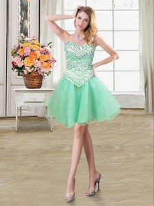Customized Apple Green Organza and Tulle Lace Up Evening Dress Sleeveless Mini Length Beading