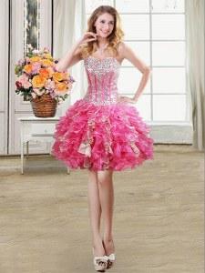 Nice Sleeveless Organza Mini Length Lace Up Dress for Prom in Hot Pink with Beading and Ruffles and Sequins