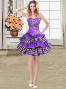 Noble Eggplant Purple Taffeta Lace Up Prom Evening Gown Sleeveless Mini Length Beading and Embroidery and Ruffled Layers