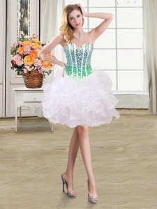 Colorful White Ball Gowns Organza Sweetheart Sleeveless Beading and Ruffles Mini Length Lace Up Prom Gown