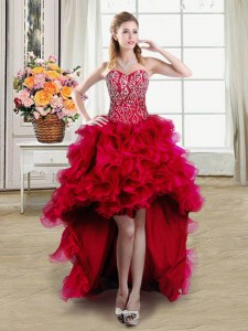 Spectacular Red Organza Lace Up Prom Gown Sleeveless High Low Beading and Ruffles