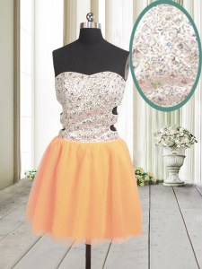 Orange Sleeveless Beading and Sequins Mini Length Evening Dress