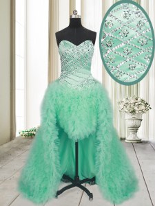 Apple Green Lace Up Dress for Prom Beading and Ruffles Sleeveless With Brush Train