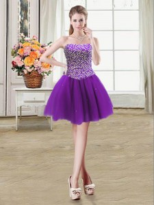 Mini Length Ball Gowns Sleeveless Purple Cocktail Dress Lace Up