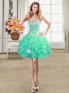Stunning Sweetheart Sleeveless Club Wear Mini Length Beading and Ruffles and Sequins Turquoise Organza