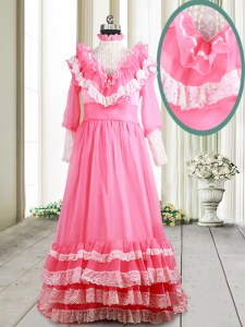 Ruffled Pink Long Sleeves Chiffon Brush Train Zipper Prom Party Dress for Prom
