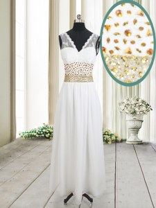 Enchanting V-neck Sleeveless Prom Gown Ankle Length Beading and Belt White Chiffon