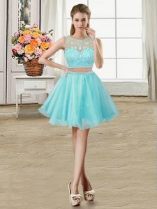 Wonderful Aqua Blue Dress for Prom Prom and Party and For with Beading Scoop Sleeveless Zipper