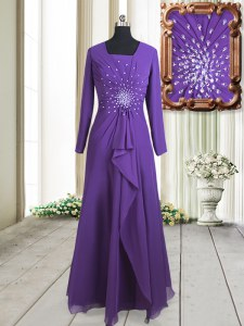 Sumptuous Square Purple Long Sleeves Beading Floor Length