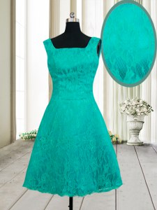 Top Selling Square Turquoise Sleeveless Lace Zipper Dress for Prom for Prom and Party