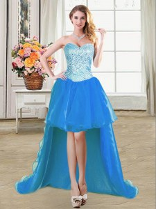 Fantastic Sleeveless Floor Length Beading Lace Up Prom Party Dress with Blue
