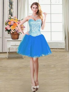 Exquisite Blue Sleeveless Beading Mini Length Prom Dress