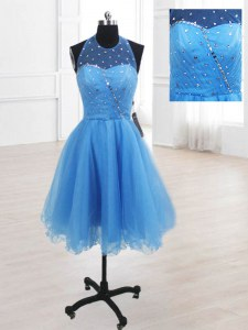 Baby Blue Lace Up High-neck Sequins Prom Gown Organza Sleeveless