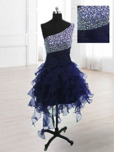 Organza One Shoulder Sleeveless Lace Up Beading Prom Evening Gown in Navy Blue