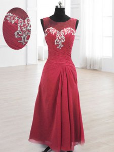 Hot Selling Scoop Floor Length A-line Sleeveless Wine Red Lace Up