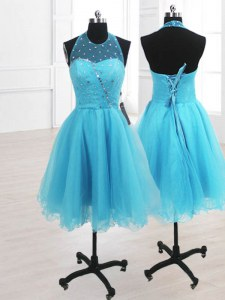 Luxurious Baby Blue Prom Dress Prom and Party and For with Ruffles High-neck Sleeveless Lace Up