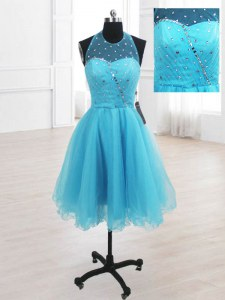 Romantic Baby Blue Lace Up Dress for Prom Sequins Sleeveless Knee Length