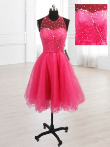Sequins Hot Pink Lace Up Sleeveless Knee Length
