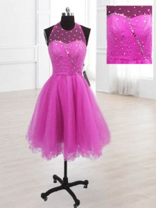 Custom Designed Organza Sleeveless Knee Length Prom Dresses and Sequins