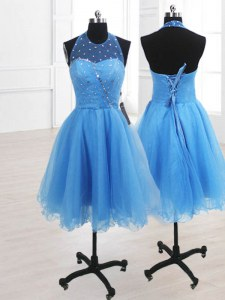 Stylish Knee Length Baby Blue Prom Evening Gown Organza Sleeveless Sequins