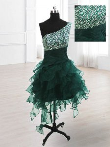 Peacock Green A-line Organza One Shoulder Sleeveless Beading and Ruffles Knee Length Lace Up