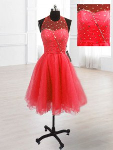 Hot Selling Coral Red Sleeveless Knee Length Sequins Lace Up Prom Dresses