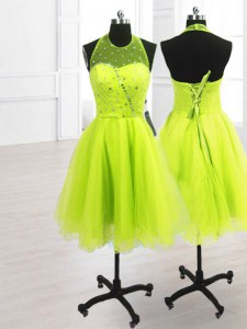 Superior Sequins A-line Prom Gown Yellow Green High-neck Organza Sleeveless Knee Length Lace Up