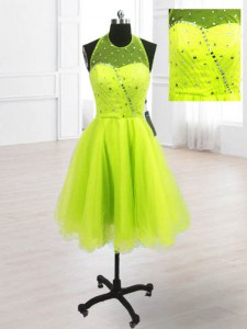 Exceptional High-neck Sleeveless Dress for Prom Knee Length Sequins Yellow Green Organza