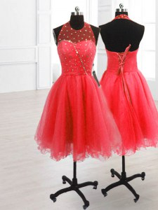 Watermelon Red Organza Lace Up Prom Evening Gown Sleeveless Knee Length Sequins