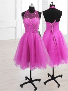 Fuchsia Organza Lace Up High-neck Sleeveless Knee Length Evening Dress Sequins