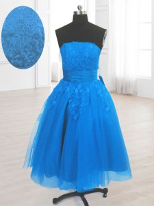 High End Strapless Sleeveless Organza Embroidery Lace Up