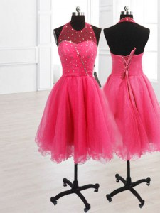 Hot Pink Sleeveless Knee Length Sequins Lace Up Prom Gown