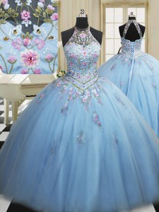 Light Blue Lace Up High-neck Embroidery Quinceanera Gowns Tulle Sleeveless