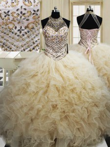 Flare Halter Top Champagne Sleeveless Floor Length Beading and Ruffles Lace Up Sweet 16 Dresses