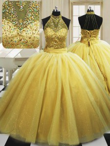 Sweet With Train Lace Up Sweet 16 Quinceanera Dress Yellow for Military Ball and Sweet 16 and Quinceanera with Beading Sweep Train