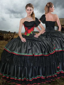 Black Ball Gowns One Shoulder Sleeveless Taffeta With Train Sweep Train Lace Up Embroidery Vestidos de Quinceanera