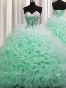 Admirable Brush Train Fabric With Rolling Flowers Sweetheart Sleeveless Lace Up Beading and Pick Ups 15th Birthday Dress in Apple Green