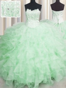 Amazing Scalloped Visible Boning Apple Green Sleeveless Organza Lace Up Quinceanera Dresses for Military Ball and Sweet 16 and Quinceanera