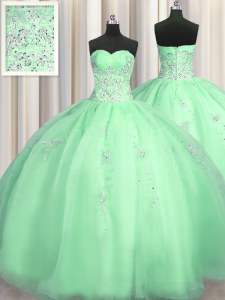 Fashion Puffy Skirt Beading and Appliques Sweet 16 Dress Apple Green Zipper Sleeveless Floor Length