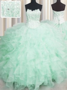 Perfect Scalloped Visible Boning Beading and Ruffles Quinceanera Gown Apple Green Lace Up Sleeveless Floor Length