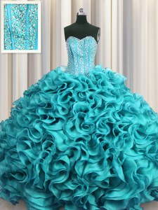 Beautiful Visible Boning Sweetheart Sleeveless Organza Sweet 16 Quinceanera Dress Beading and Ruffles Lace Up