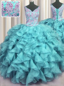 Trendy Ruffled V Neck Aqua Blue Lace Up 15 Quinceanera Dress Appliques and Ruffles Sleeveless Floor Length