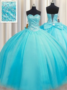 Luxurious Puffy Skirt Sweetheart Sleeveless Tulle Quinceanera Gowns Beading Lace Up
