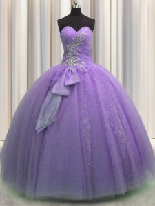Sophisticated Lavender Tulle Lace Up Sweetheart Sleeveless Floor Length Sweet 16 Dresses Beading and Sequins and Bowknot