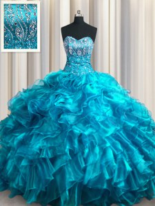 Inexpensive Teal Lace Up Sweetheart Beading and Ruffles Vestidos de Quinceanera Organza Sleeveless Brush Train