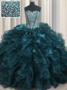 Modest Visible Boning Bling-bling Sleeveless Organza With Brush Train Lace Up Quinceanera Gowns in Teal with Beading and Ruffles